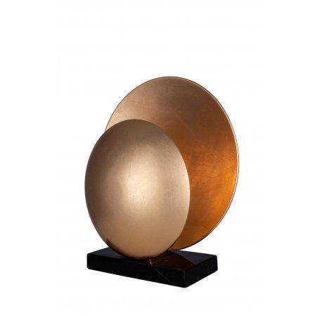 Messingin värinen Orbit on veistoksellisen kaunis pöytävalaisin